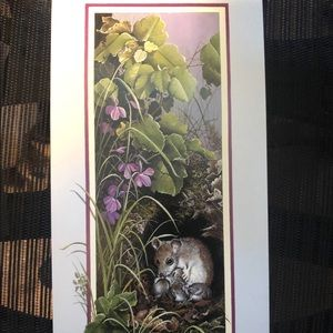 "Other - Mice family lithograph art print 6x12"" new"